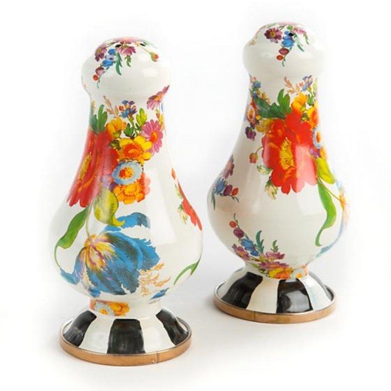 MacKenzie-Childs Flower Market Large Salt & Pepper Shakers - White