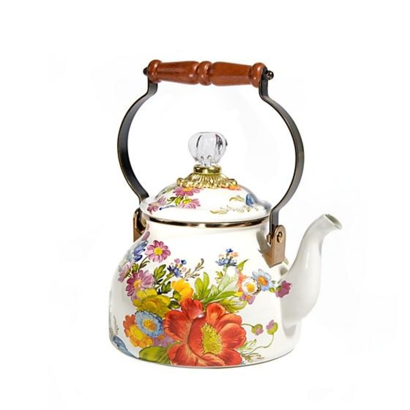 MacKenzie-Childs Flower Market 2 Quart Tea Kettle - White