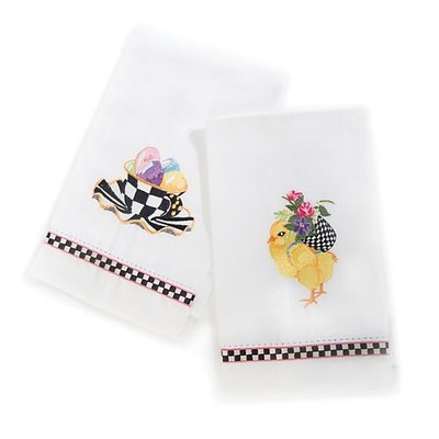 MacKenzie-Childs Chicks & Eggs Guest Towels - Set of 2