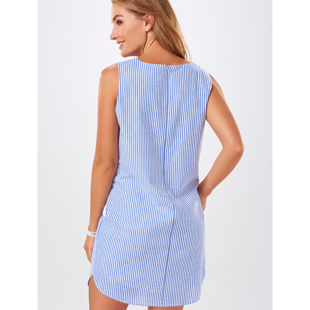 Bee Boutique Pippa Seersucker Embroidered Shift Dress