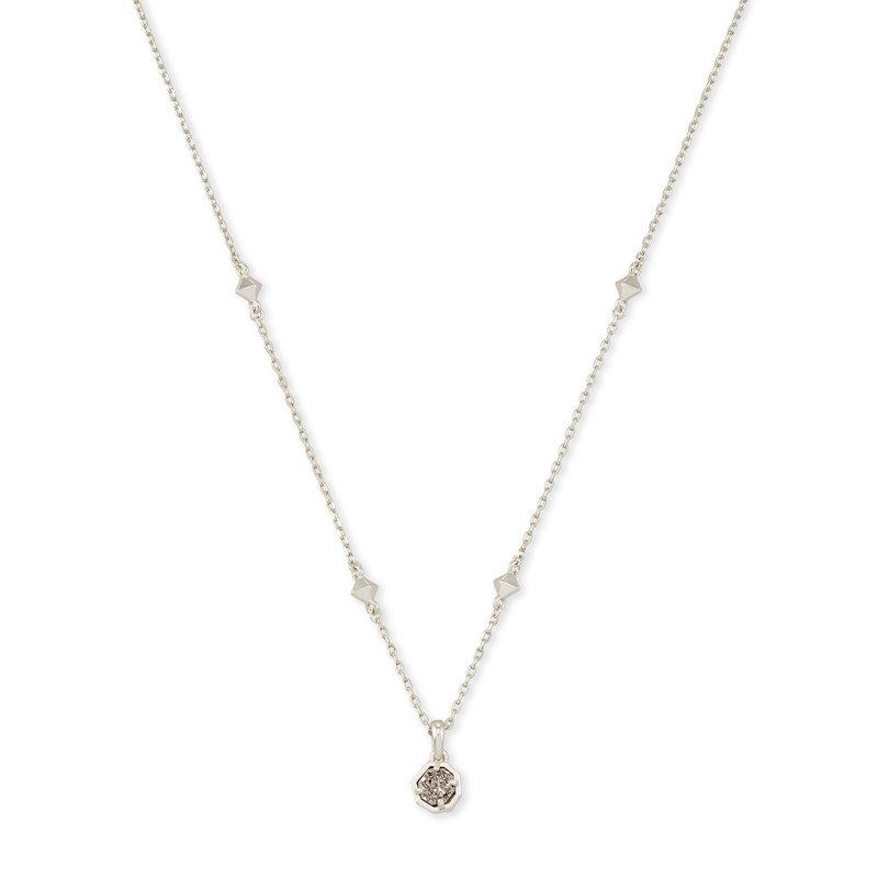 Kendra Scott Nola Silver Pendant Necklace Rhodium Platinum Drusy