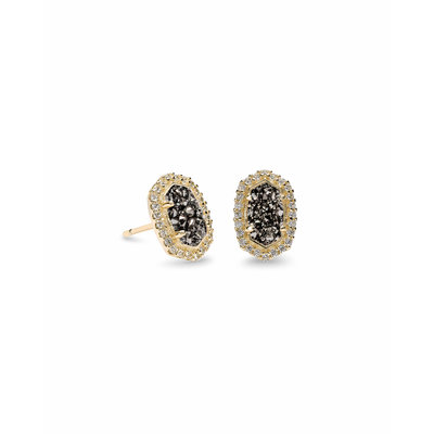 Kendra Scott Cade Gold Stud Earring in Platinum Drusy