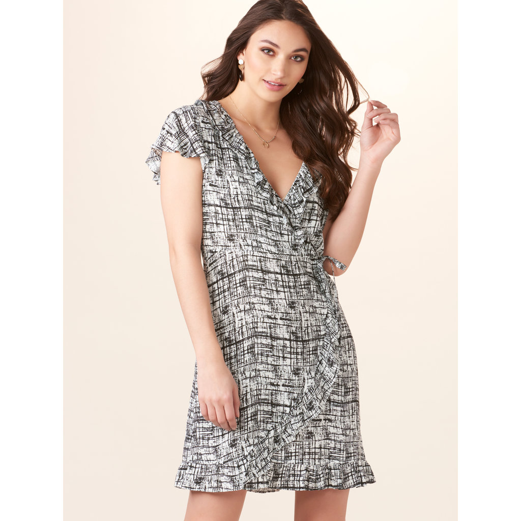 Bee Boutique Carolynne Black & White Wrap Dress