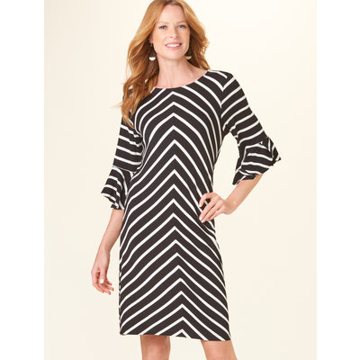 Bee Boutique Flounce Sleeve Black & White Stripe Dress
