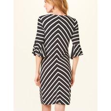 Bee Boutique Flounce Sleeve Black & White Stripe Dress