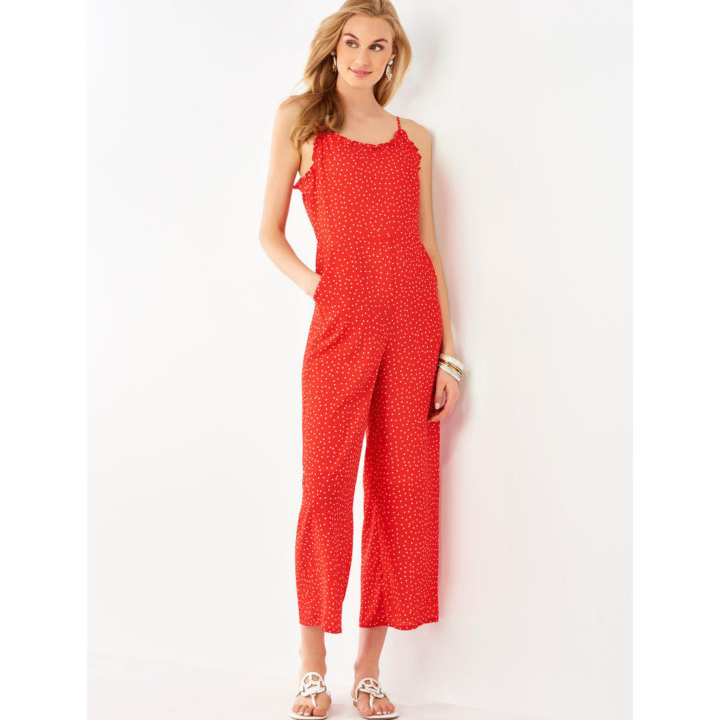 Bee Boutique Red Polka Dot with Ruffle Detail Jumpsuit