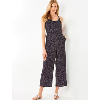 Bee Boutique Black Polka Dot with Ruffle Detail Jumpsuit
