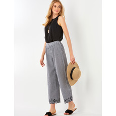 Bee Boutique Gingham Pants with Embroidery