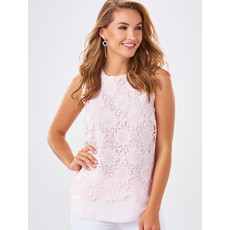 Bee Boutique Light Pink Floral Lace Shell