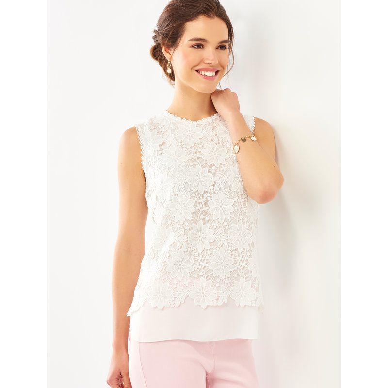 Bee Boutique White Floral Lace Shell Top