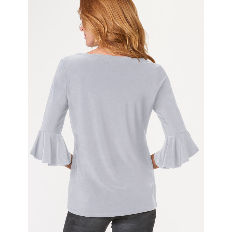 Bee Boutique Stone Gray Flounce Sleeve Top