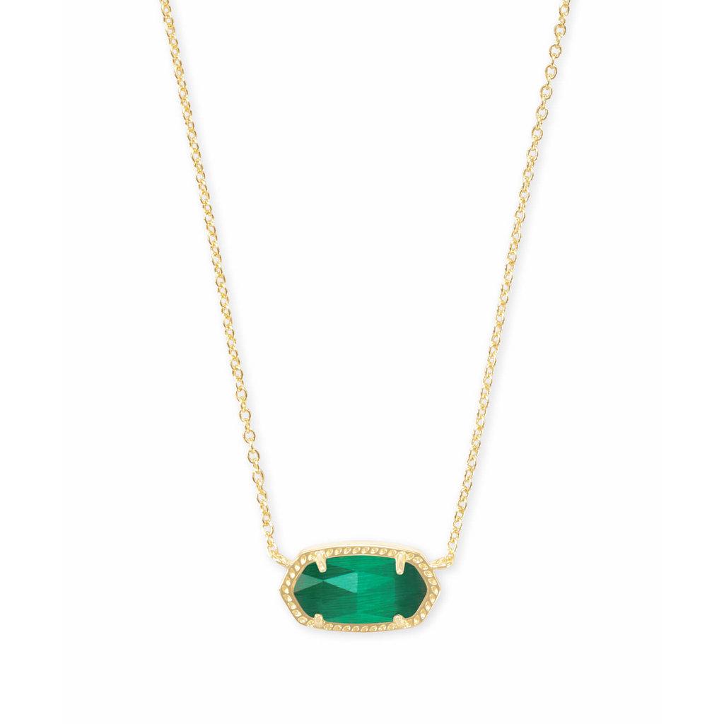 Kendra Scott Elisa Gold Pendant Necklace In Emerald Cat's Eye