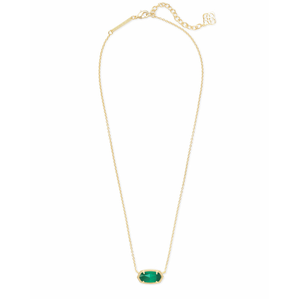 Kendra Scott Elisa Gold Pendant Necklace In Emerald Cat's Eye