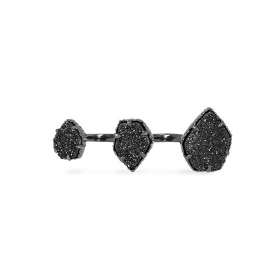 Kendra Scott Naomi Gunmetal Double Ring in Black Drusy - S/M