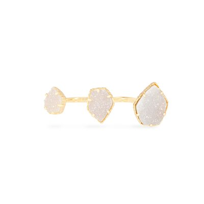 Kendra Scott Naomi Gold Double Ring in Iridescent Drusy - S/M