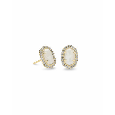 Kendra Scott Cade Gold Stud Earrings In White Pearl