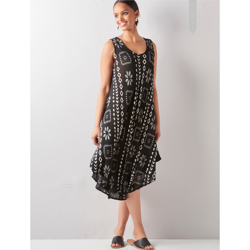 Bee Boutique Black Print Handkerchief Hem Dress
