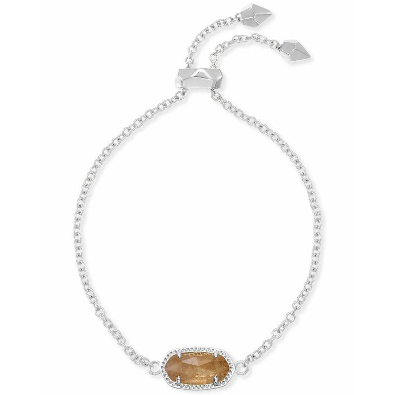 Kendra Scott Elaina Silver Adjustable Chain Bracelet In Citrine