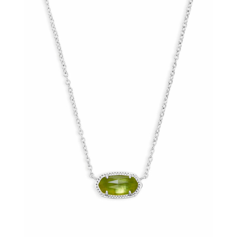 Kendra Scott Elisa Silver Pendant Necklace In Peridot Illusion