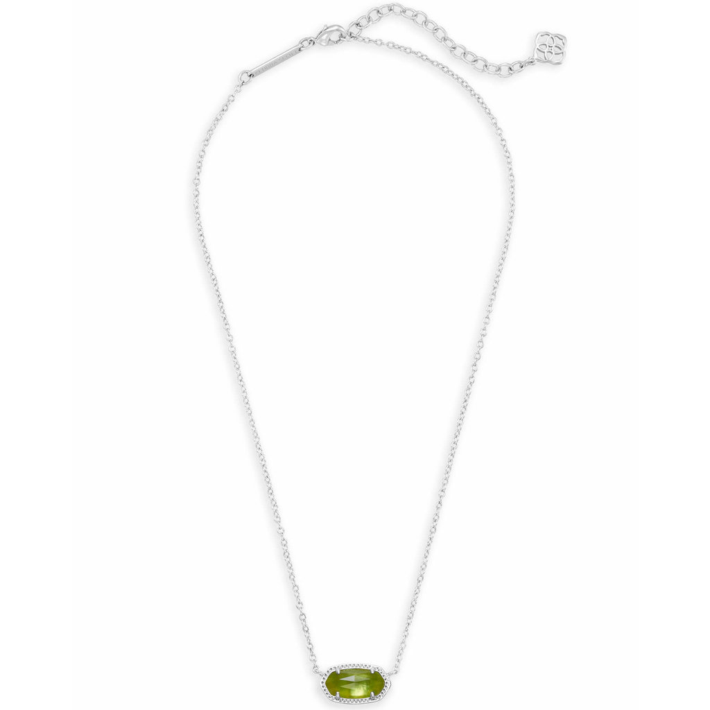Kendra Scott Elisa Silver Pendant Necklace In Peridot Illusion