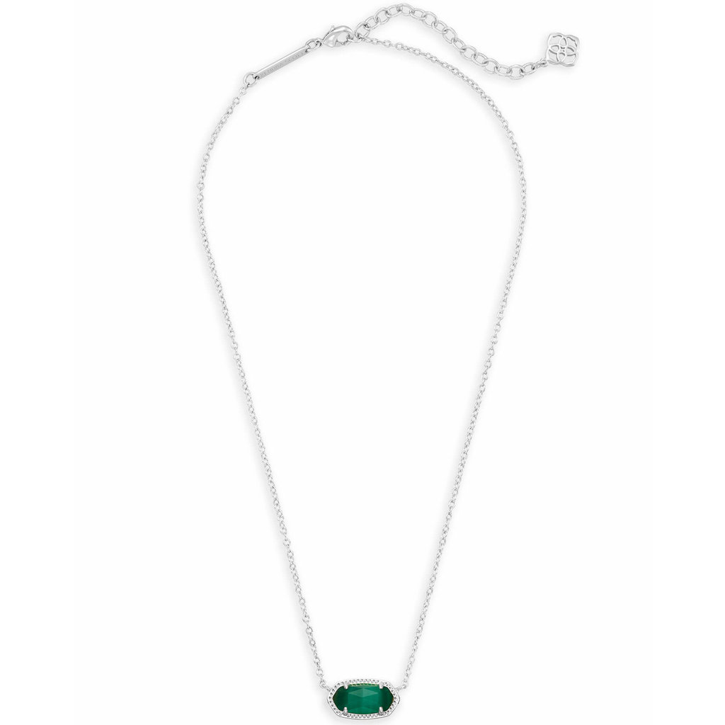 Kendra Scott Elisa Silver Pendant Necklace In Emerald Cats Eye
