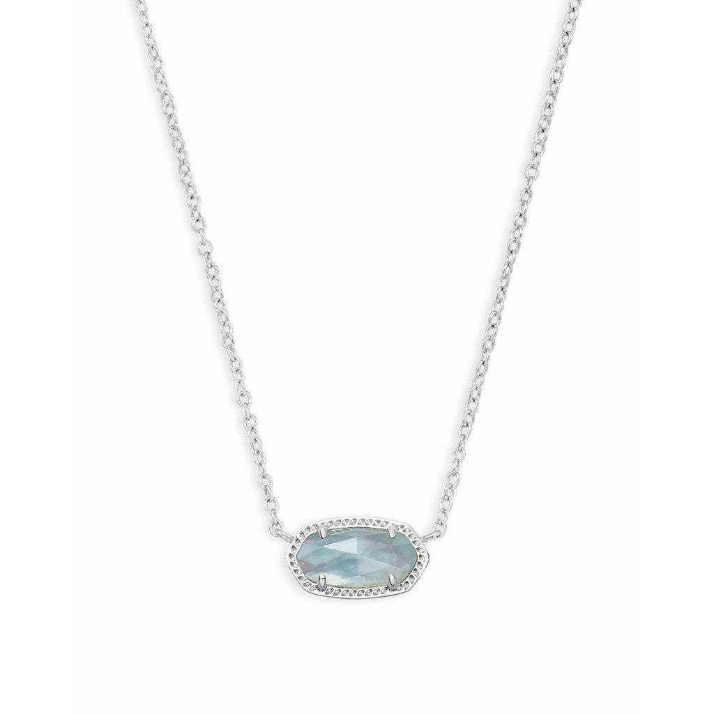 Kendra Scott Elisa Silver Pendant Necklace In Light Blue Illusion