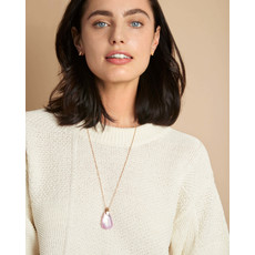 Kendra Scott Maeve Bright Silver Long Pendant Necklace In Black Mother Of Pearl