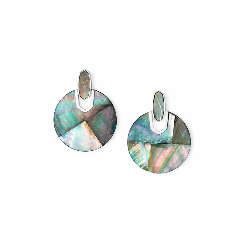 Kendra Scott Didi Bright Silver Statement Earrings In Black Mother Of Pearl