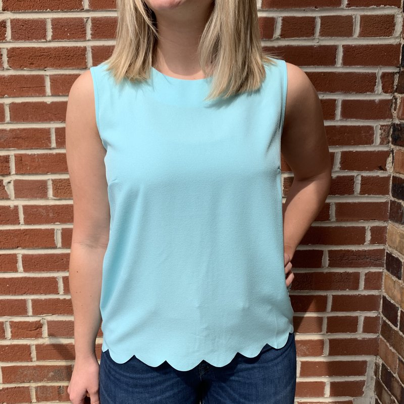 Bee Boutique Robin Egg Scalloped Edge Top