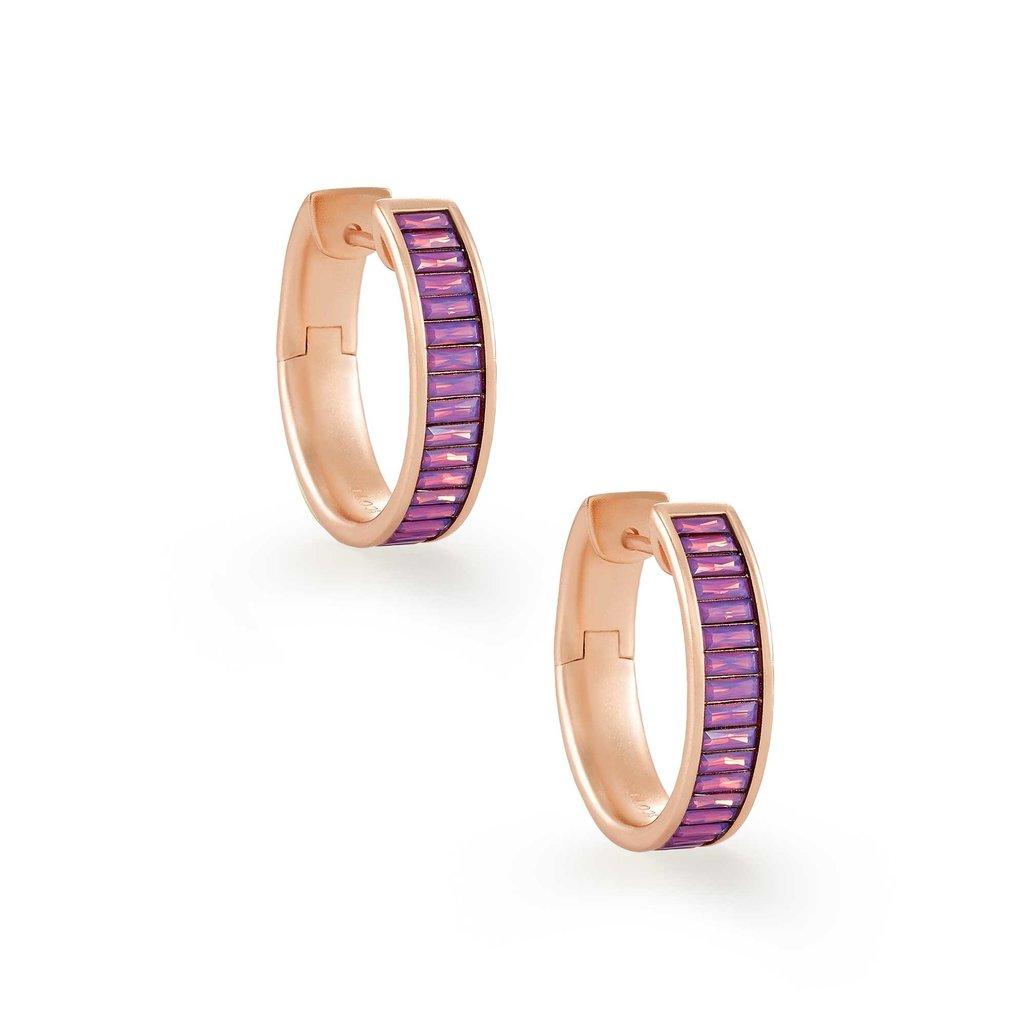 Kendra Scott Jack Rose Gold Hoop Earrings In Pink Crystal