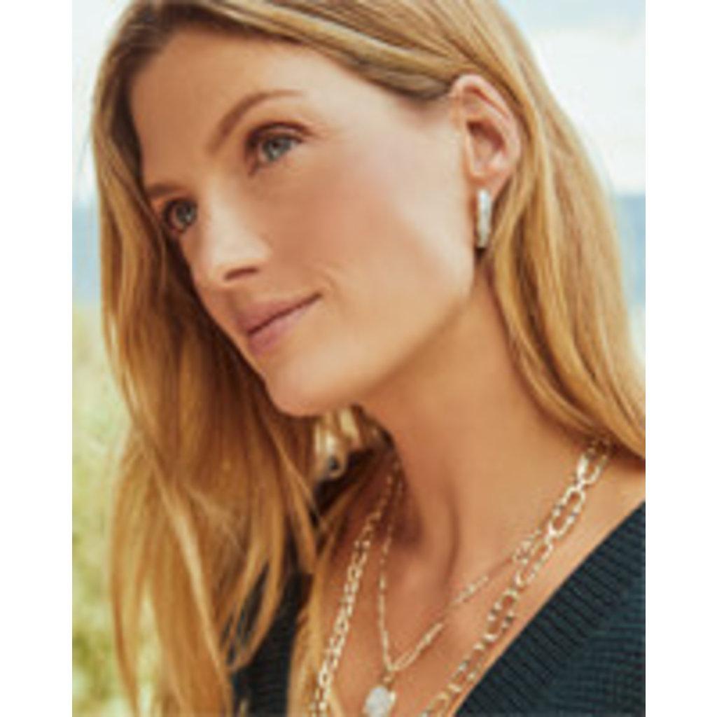 Kendra Scott Jack Gold Hoop Earrings In White Crystal