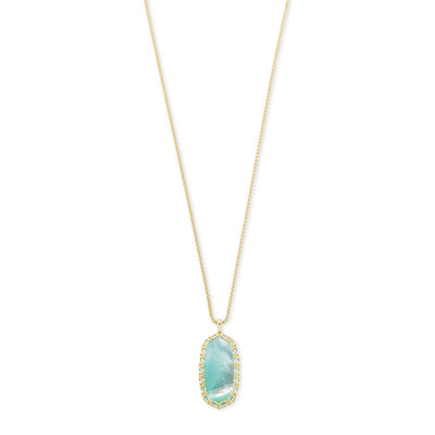 Kendra Scott Macrame Reid Gold Long Pendant Necklace In Aqua Illusion