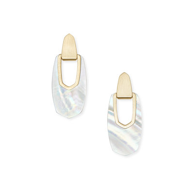 Kendra Scott Kailyn Gold Drop Earrings In Ivory Mother Of Pearl
