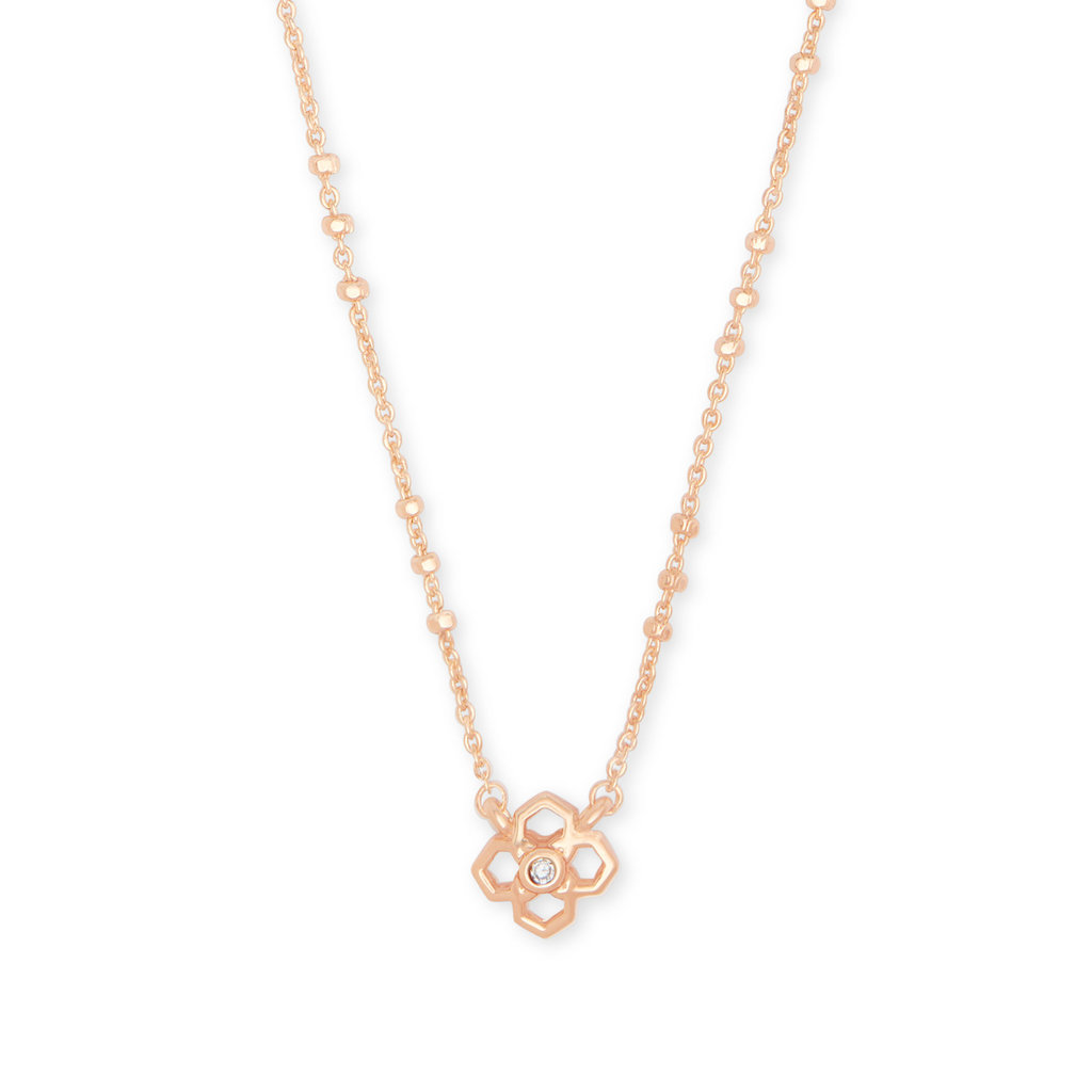 Kendra Scott Rue Pendant Necklace In Rose Gold