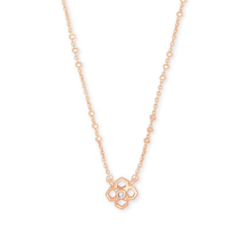 Kendra Scott Rue Pendant Necklace In Rose Gold