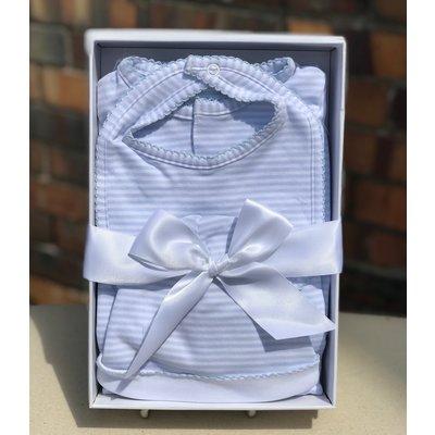 Little Bees Blue Layette Stripe Set