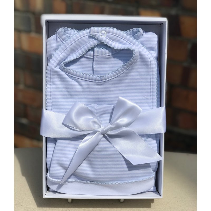 Little Bees Blue Layette Stripe Set