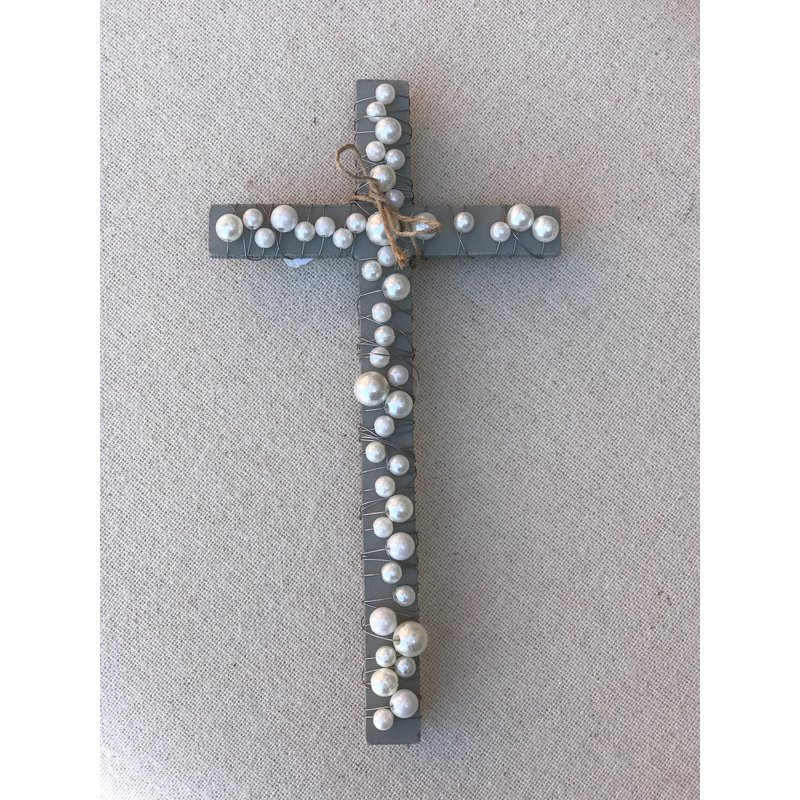 Little Bees Gray Wood Cross with Pearls