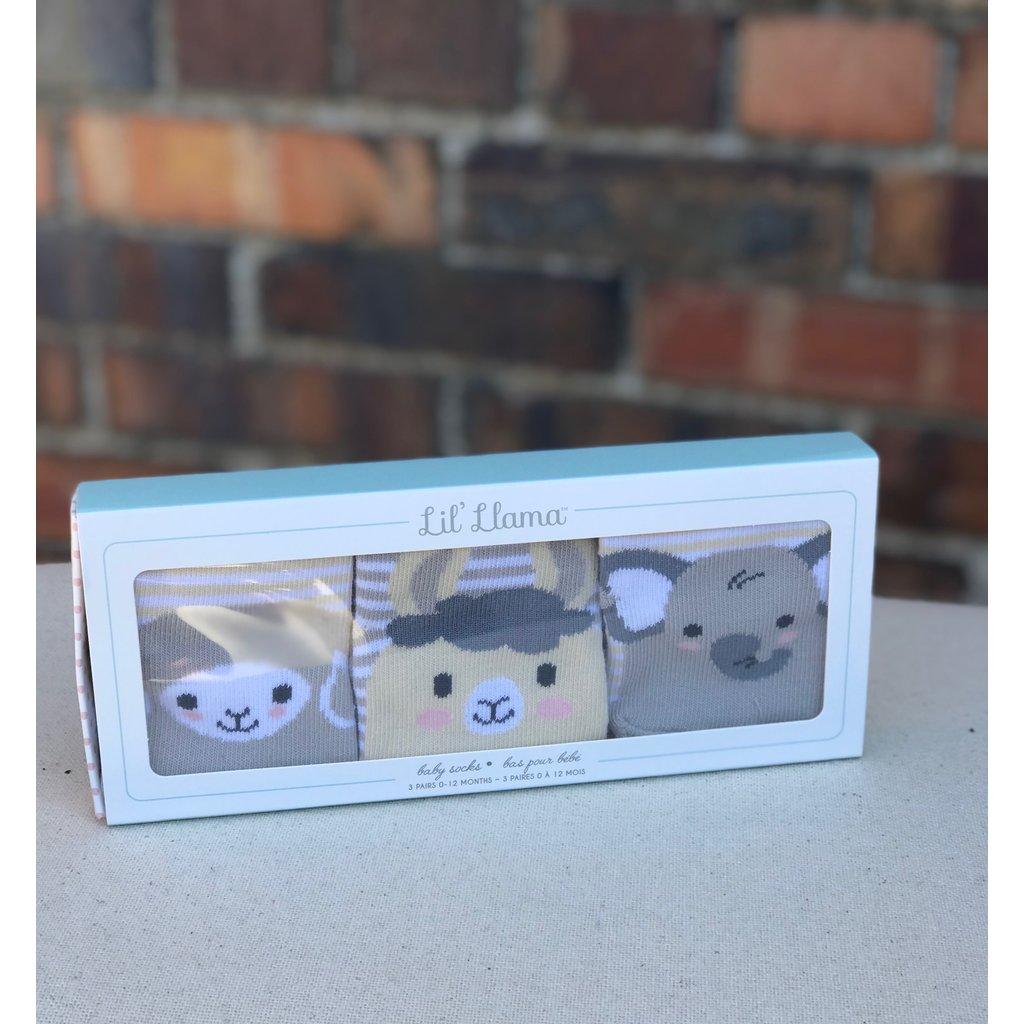 Little Bees Little Animal Face Sock Set of 3