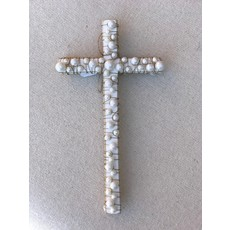 Little Bees White Wood Cross with Pearls