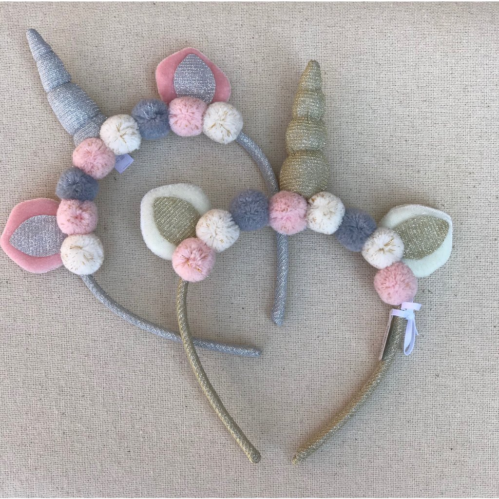 Little Bees Silver Unicorn Headband with Pom Poms