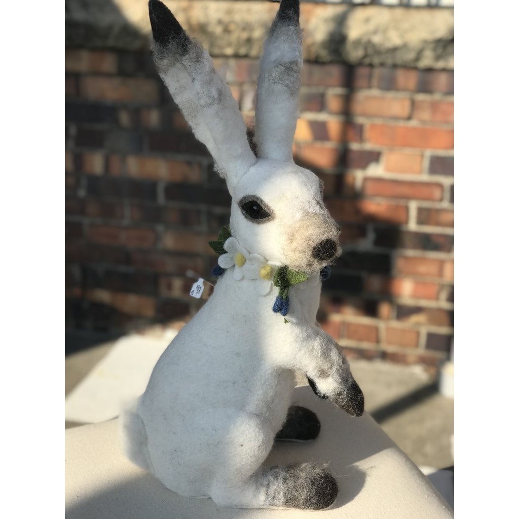 Southbank's Large White Standing Felt Bunny