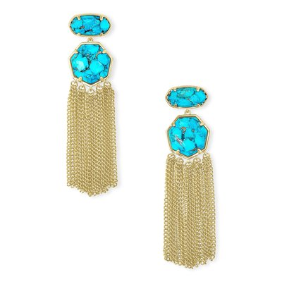 Kendra Scott Tae Gold Statement Earrings In Bronze Veined Turquoise Magnesite