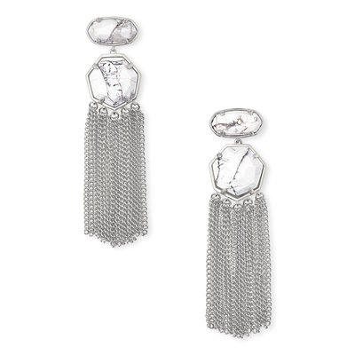 Kendra Scott Tae Silver Statement Earrings In White Howlite