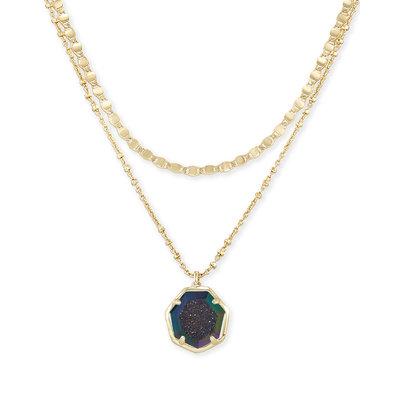Kendra Scott Cynthia Gold Multi Strand Necklace In Mystic Gray Drusy