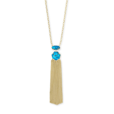 Kendra Scott Tae Gold Long Pendant Necklace In Bronze Veined Turquoise Magnesite
