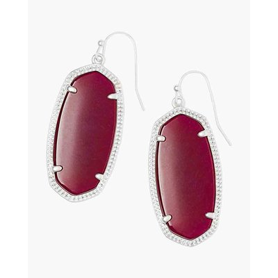 Kendra Scott Elle Silver Drop Earrings in Maroon Jade