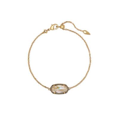 Kendra Scott Elaina Vintage Gold Single Slide Bracelet In White Abalone