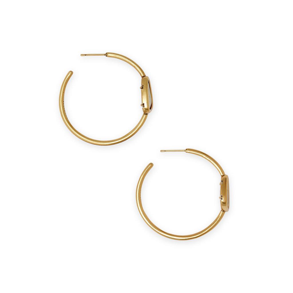 Kendra Scott Margot Hoop Earring Vintage Gold White Abalone
