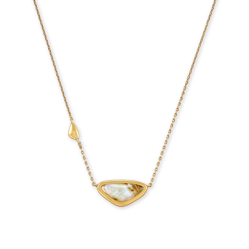 Kendra Scott Margot Vintage Gold Pendant Necklace In White Abalone